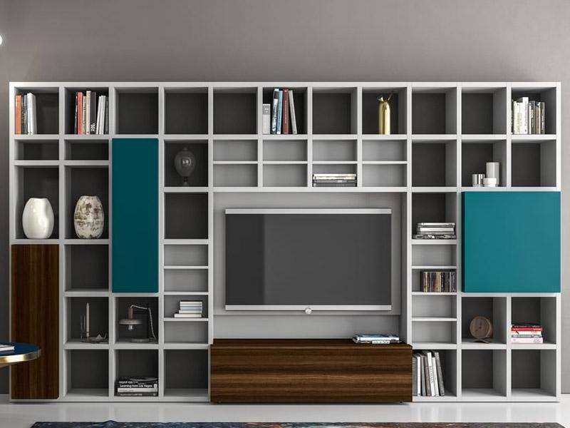 Soggiorno moderno slim dall 39 agnese for Libreria soggiorno moderno