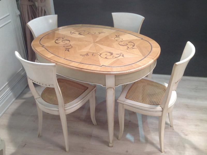 Tavolo classico ovale allungabile con piano intarsiato - Tavolo allungabile classico ...